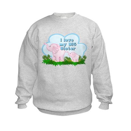 Elephant I Love Big Sister Kids Sweatshirt
