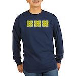 Yellow Owls Design Long Sleeve Dark T-Shirt