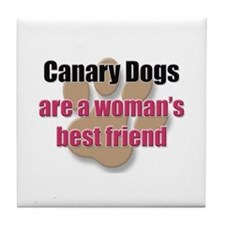 Canary Dogs woman's best friend Tile Coaster