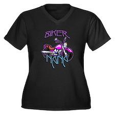 Biker Nana Women's Plus Size V-Neck Dark T-Shirt