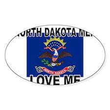 North Dakota Loves Me Oval Decal