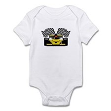 YELLOW RACE CAR Infant Bodysuit