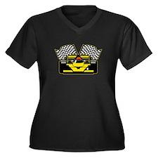 YELLOW RACE CAR Women's Plus Size V-Neck Dark T-Sh