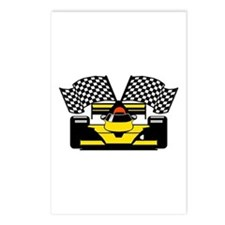 YELLOW RACE CAR Postcards (Package of 8)