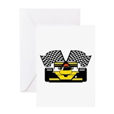 YELLOW RACE CAR Greeting Card