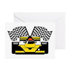 YELLOW RACE CAR Greeting Cards (Pk of 20)