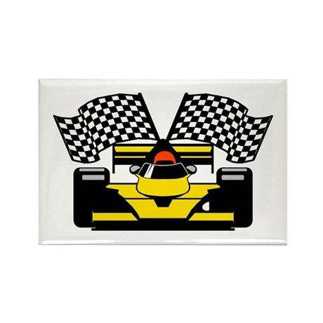 YELLOW RACE CAR Rectangle Magnet (10 pack)