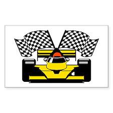 YELLOW RACE CAR Rectangle Decal