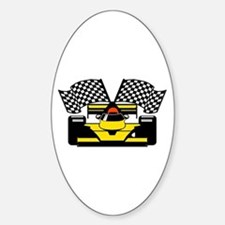 YELLOW RACECAR Sticker (Oval)