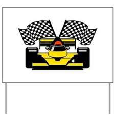 YELLOW RACE CAR Yard Sign
