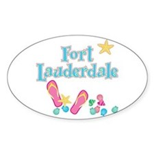 Ft Lauderdale Flip Flops - Oval Decal