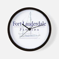 Ft Lauderdale Sailboat - Wall Clock
