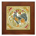Country Rooster Framed Tile