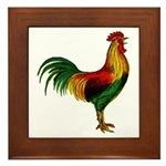 Colorful Rooster Framed Tile