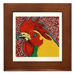 Bright Rooster Framed Tile