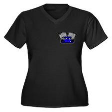 ROYAL BLUE RACE CAR Women's Plus Size V-Neck Dark