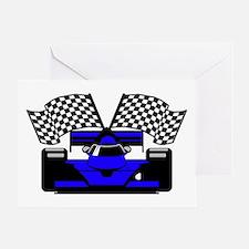 ROYAL BLUE RACE CAR Greeting Card