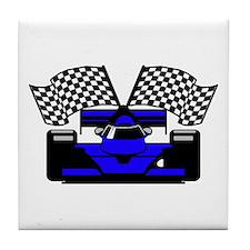 ROYAL BLUE RACE CAR Tile Coaster