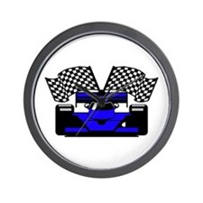 ROYAL BLUE RACE CAR Wall Clock