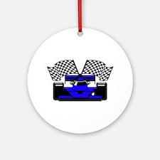 ROYAL BLUE RACE CAR Ornament (Round)