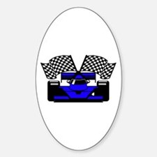ROYAL BLUE RACE CAR Oval Decal