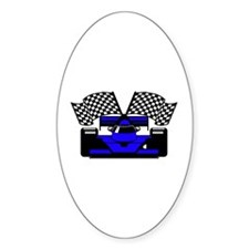 ROYAL BLUE RACE CAR Oval Sticker (10 pk)