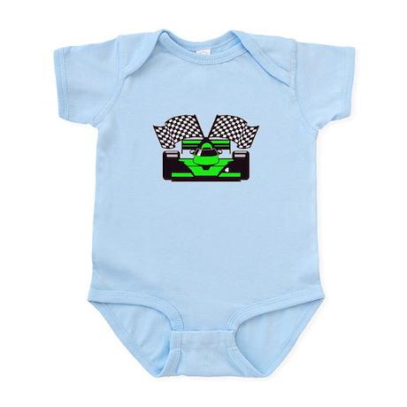 LIME GREEN RACE CAR Infant Bodysuit