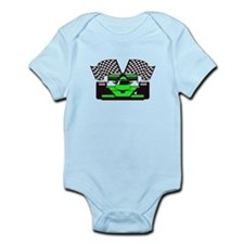 LIME GREEN RACE CAR Infant Bodysuit