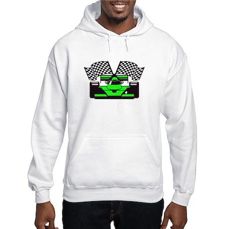 LIME GREEN RACE CAR Hooded Sweatshirt