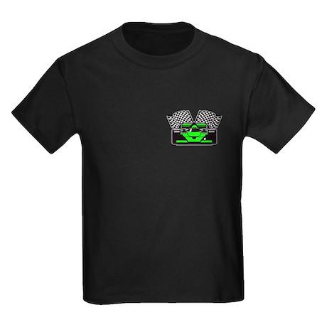 LIME GREEN RACE CAR Kids Dark T-Shirt