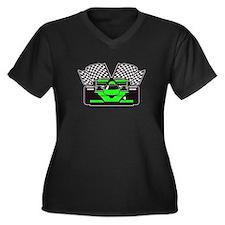 LIME GREEN RACE CAR Women's Plus Size V-Neck Dark