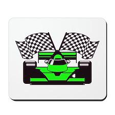 LIME GREEN RACE CAR Mousepad