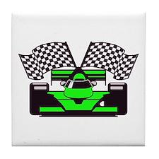 LIME GREEN RACE CAR Tile Coaster