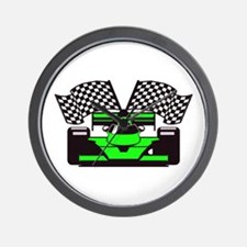 LIME GREEN RACE CAR Wall Clock