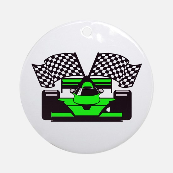 LIME GREEN RACE CAR Ornament (Round)