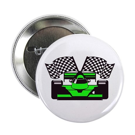 "LIME GREEN RACE CAR 2.25"" Button"
