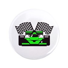 "LIME GREEN RACE CAR 3.5"" Button"