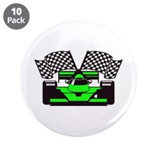 "LIME GREEN RACE CAR 3.5"" Button (10 pack)"
