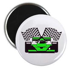 LIME GREEN RACE CAR Magnet