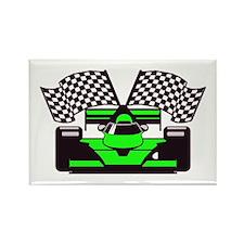 LIME GREEN RACE CAR Rectangle Magnet