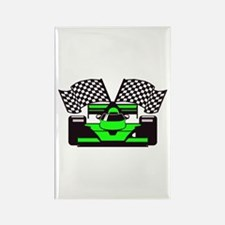 LIME GREEN RACE CAR Rectangle Magnet