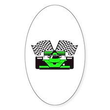 LIME GREEN RACE CAR Oval Sticker (10 pk)