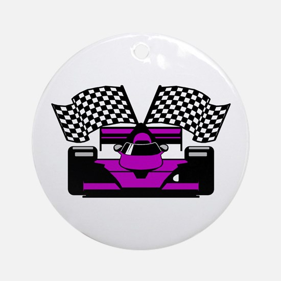 PURPLE RACE CAR Ornament (Round)