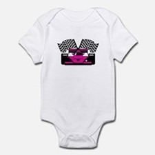 HOT PINK RACE CAR Infant Bodysuit