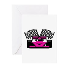 HOT PINK RACE CAR Greeting Cards (Pk of 10)
