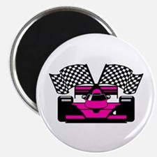"HOT PINK RACE CAR 2.25"" Magnet (100 pack)"
