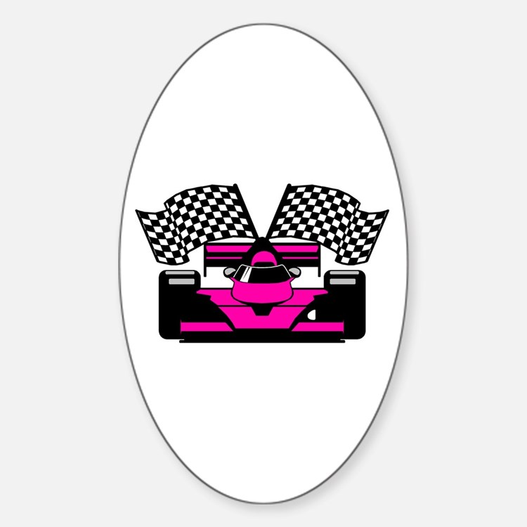 HOT PINK RACE CAR Oval Decal