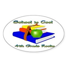 School's Cool 4th Grade Rocks Oval Decal