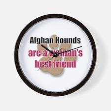 Afghan Hounds woman's best friend Wall Clock