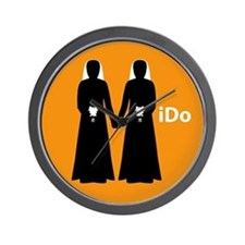 """I Do"" Brides Orange Wall Clock"
